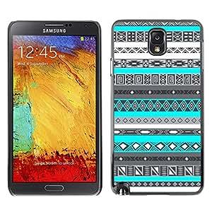 TopCaseStore / la caja del caucho duro de la cubierta de protección de la piel - Pattern Black White Native Indian - Samsung Galaxy Note 3 N9000 N9002 N9005
