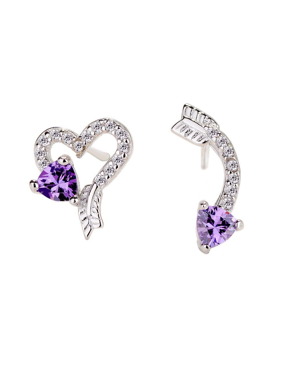 Love Heart and Arrow 925 Sterling Silver Stud Earrings - Cubic Zirconia Purple Rhinestone Ear Jewelry