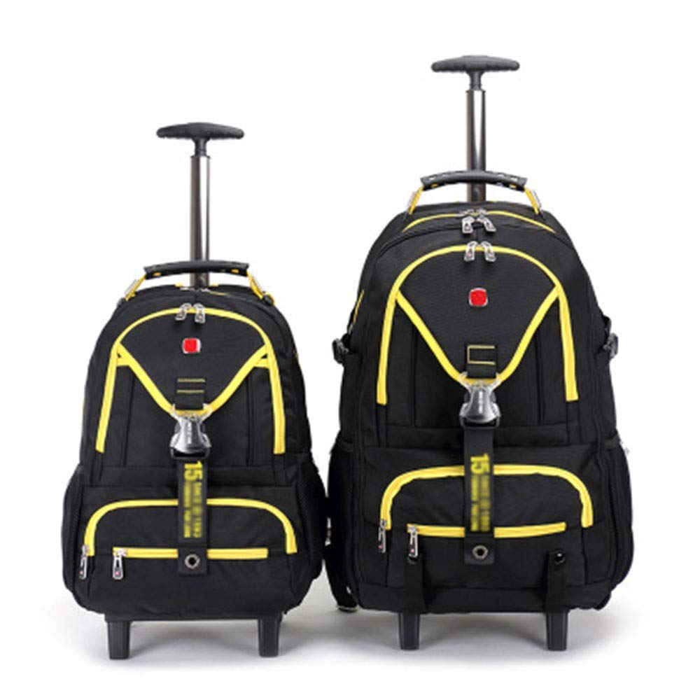 FLYSXP Travel Bag Business Multi-Function Boarding Stroller Single Pole Large Capacity Bag Trolley Bag Trolley Backpack (Color : Yellow, Size : 58x20x30cm)