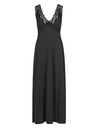 9c46df749f Ladies MS Long Black V-Neck Lace Trim Lightweight Jersey Nightdress. Size 16   Amazon.co.uk  Clothing