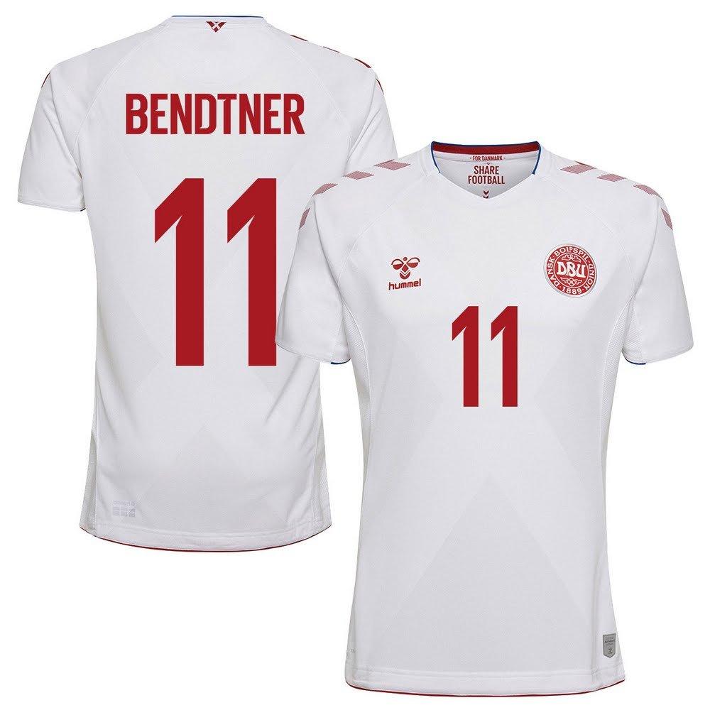 Hummel Dänemark Away Trikot 2018 2019 + Bendtner 11 (Fan Style)