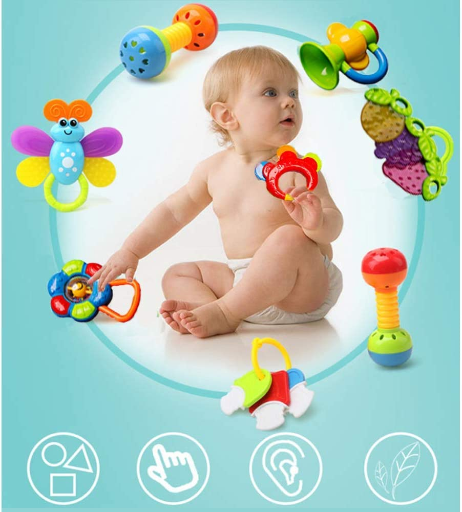 kaichen Rattle Teether Set Baby Toys 20pcs Shake Baby Hand Development Rattle Toys Newborn Infant Giant Bottle Gift 3 6 9 12 18Month 20pcs