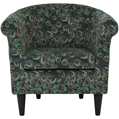 Fun Peacock Feathers Pattern Club Chair