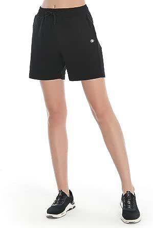 LAZALAM Women's Bermuda Shorts Cotton Jersey Shorts Athletic Active Yoga Workout Gym Jogger Running Shorts with Deep Pockets