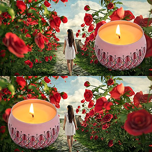 Eyansda Scented Candles Set of Rose, Eco-Friendly Pure Soy Wax for Stress Relief and Aromatherapy, Protable Travel Candle-2 Pack by Eyansda (Image #2)