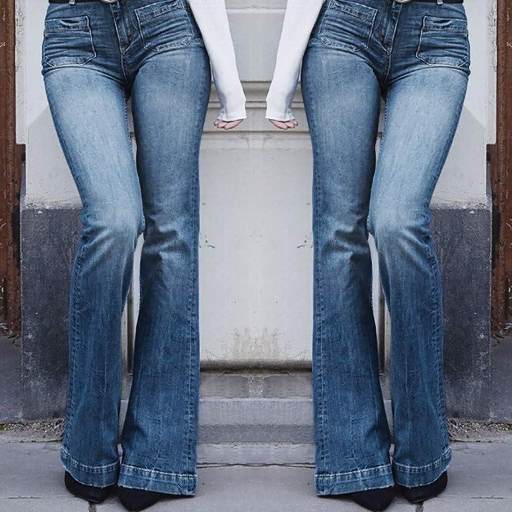 Pantalones Vaqueros de Mujer Anchos Pantalón Mujer Comodo con ...