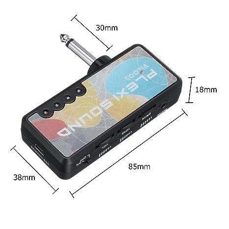 Mini amplificador de auriculares con bolsillo para guitarra eléctrica, compacto, sonido rock pesado,