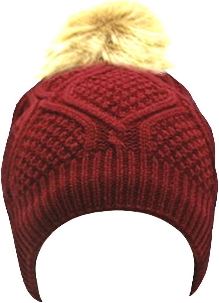 Beaute Fashion Womens Pom Beanie Hat with Faux Fur Pom Pom Fleece Lined USA COMPANY