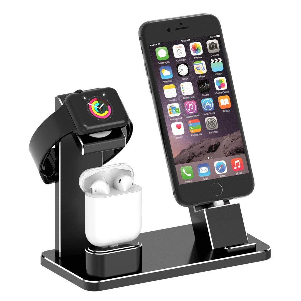 3 in 1 Charging Stand Station Dock Holder for Apple Watch for iPhone for Airpods Charge Stand Compatible for iWatch Apple Watch Series (Black)