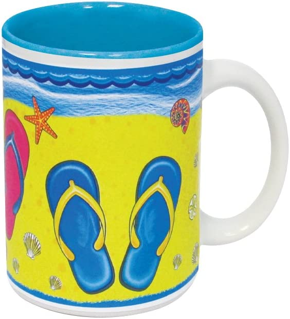 Mug - Flip Flop Printed Tropical Ceramic Coffee Mug and Tea Cup 11 Ounce (Flip Flop)