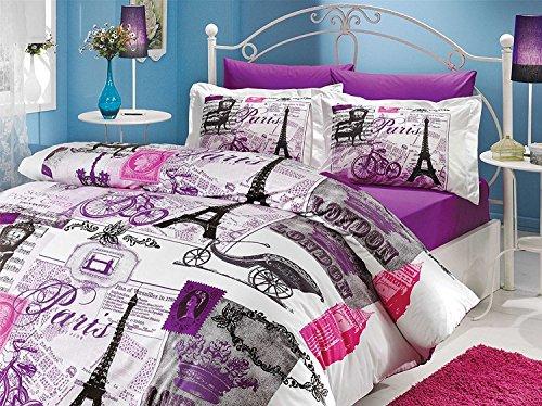 Paris Ranforce Turkish Cotton 4-Piece Eiffel Tower Themed Full Queen Quilt Duvet Cover Set, Vintage Purple (Set Duvet Purple Single)