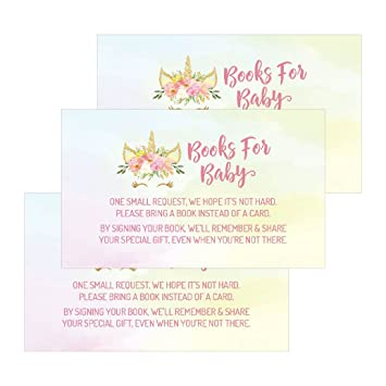 graphic about Bring a Book Baby Shower Insert Free Printable called 25 Unicorn Guides For Youngster Question Increase Card For Purple Female Mystic Child Shower Invites or invitations Lovely Convey A Ebook Alternatively of A Card Concept For