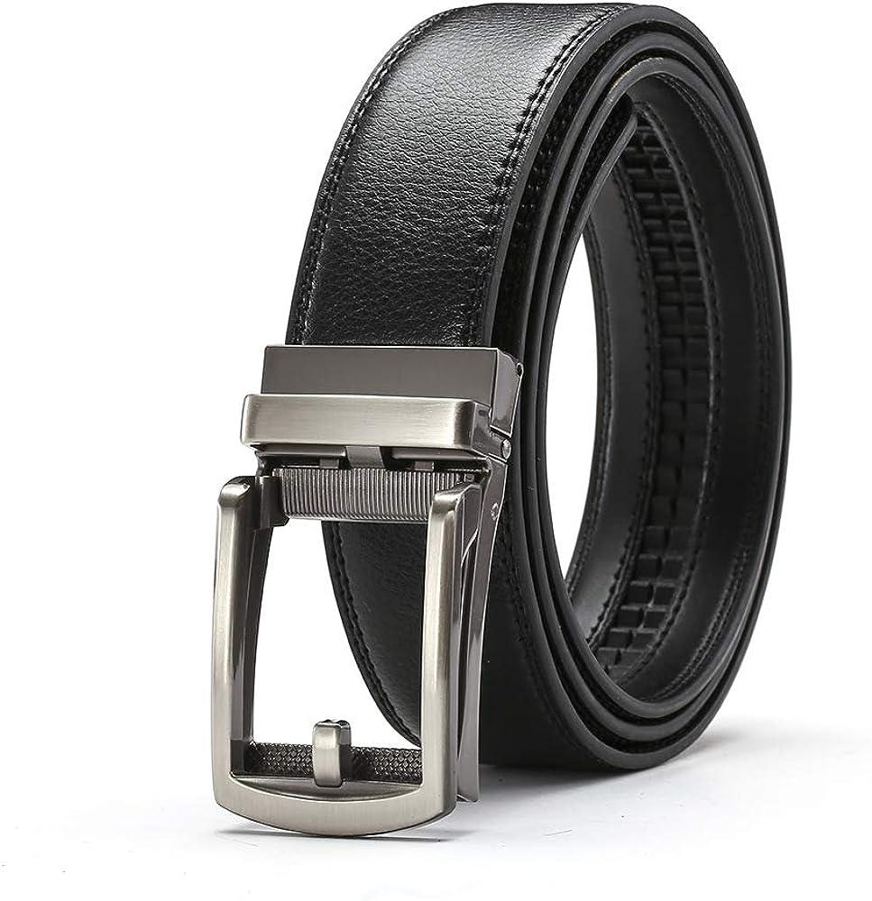 Martino Mens Leather Belt Black Automatic Buckle Fake Pin Buckle Belt Belt Mens Leather Belt