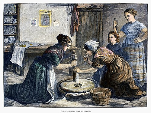 Ireland Hand Mill 1874 Nirish Peasant Women Using A Hand Mill To Grind Cereal Grain Into Flour Wood Engraving English 1874 Poster Print by (24 x 36) ()