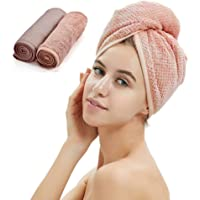 2 Pack Hair Turban Towel, Thickened Dry Hair Towel Cap with Loop and Button Fastener,Absorbent Microfiber Hair Quick Dry for Women/Girl