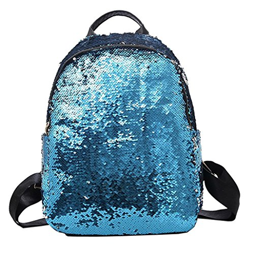 Hmlai Sequin Backpack, Women Girl Fashion School Bookbag Lightweight Travel Daypack (Bule) by Hmlai