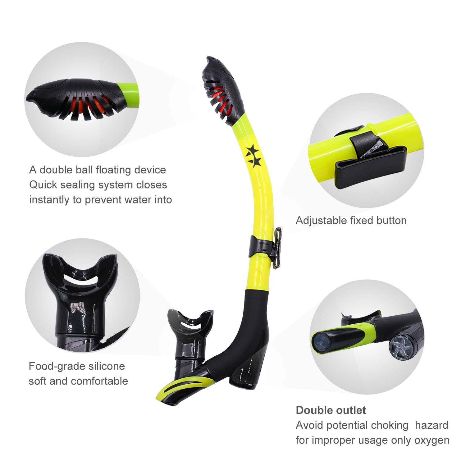 Startostar Dry Snorkel Innovative Dual Way Purge Valve Dry Top Diving Breathing Tube with Silicone Mouthpiece for Snorkeling and Scuba Diving Spearfishing Swimmers Swimming Train