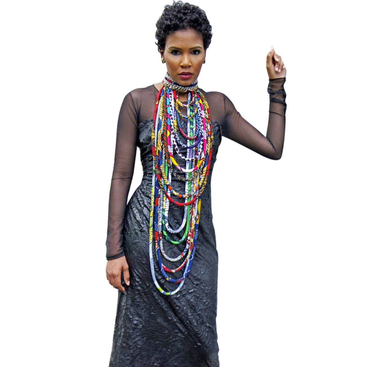 Colorful Handmade African Ankara Necklace Wax Print Dashiki Fabric Necklace Shawl by BintaRealWax (Image #1)