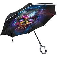 MUMIMI Sucre Tête de Mort Envers Parapluie inversé Double Couche Coupe-Vent Protection UV Envers Pliant parapluies inversé Parapluie de Voyage Parapluie avec poignée en Forme de C