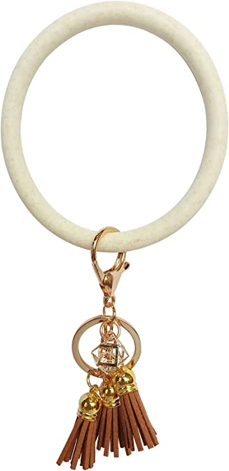 Round Silicone Wristlet Keychain Holder for Women Girls Mwfus Bangle Key Ring Chain Bracelet
