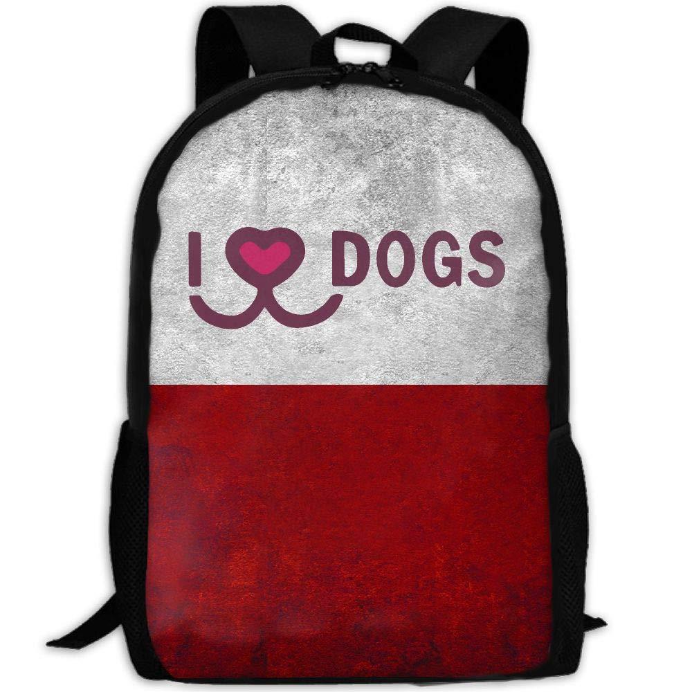 OIlXKV I Love Dogs Print Custom Casual School Bag Backpack Multipurpose Travel Daypack For Adult