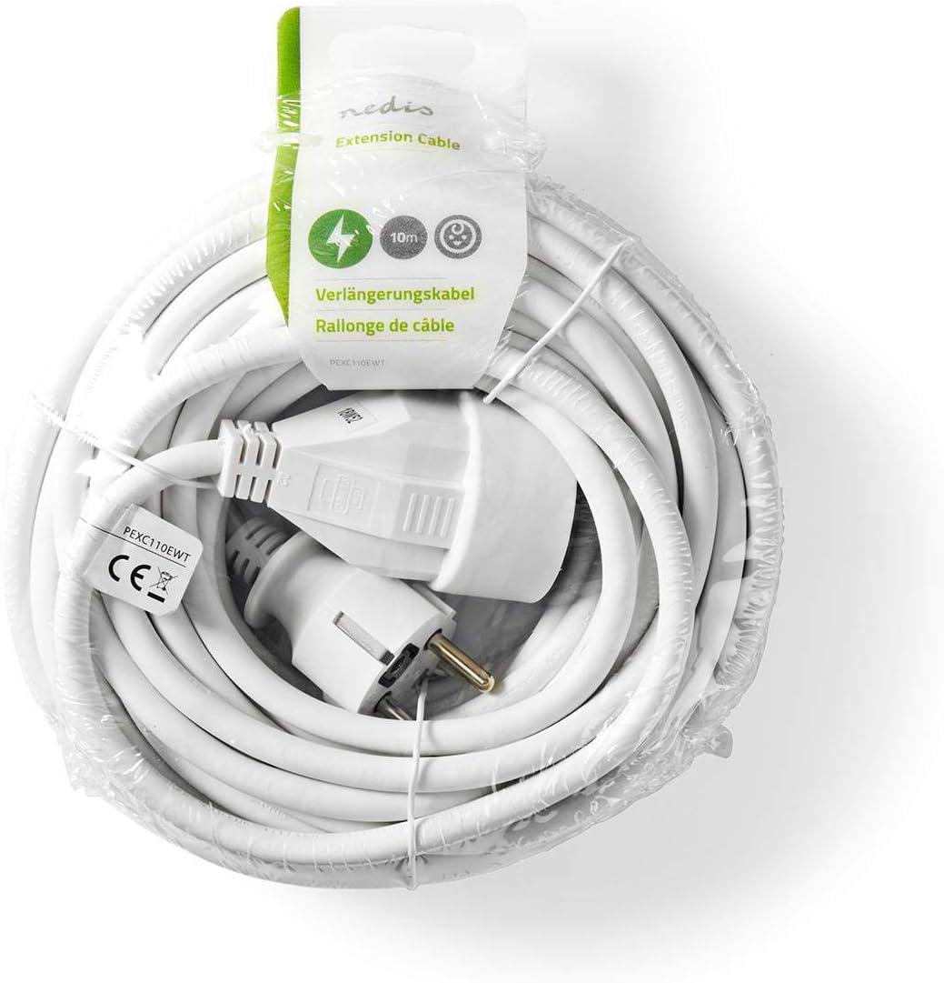Nedis PEXC103EWT Cavo di Alimentazione di Prolunga 3 m H05VV-F 3G1.5 Bianco IP20