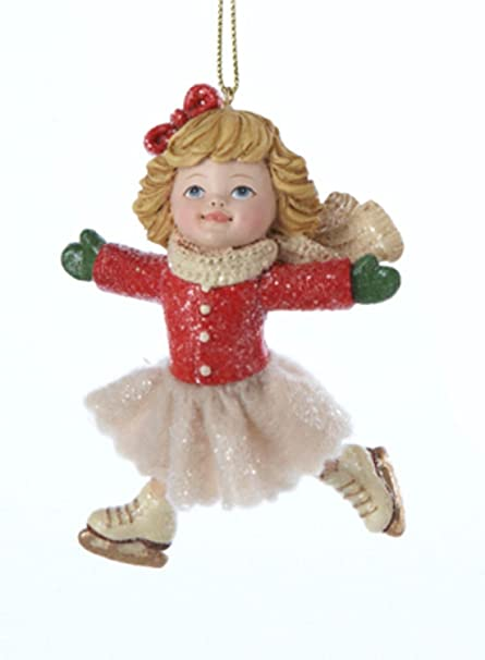 375 vintage girl ice skater in pose with red bow in hair christmas ornament - Ice Skating Christmas Ornaments