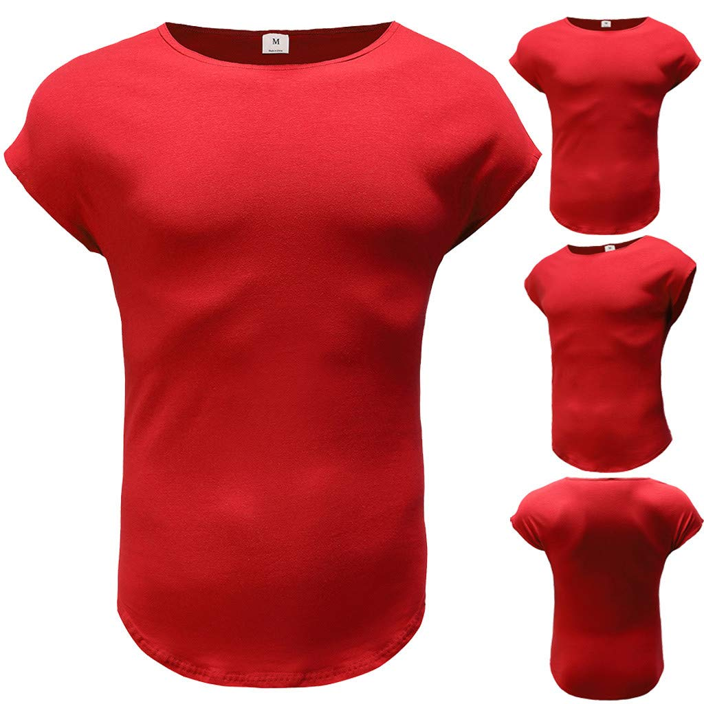 MISYAA T Shirts for Men, Solid Muscle T Shirt Breathable Sport Tank Top Basic Sweatshirt Tee Masculinity Gifts Mens Tops Red by MISYAA (Image #4)