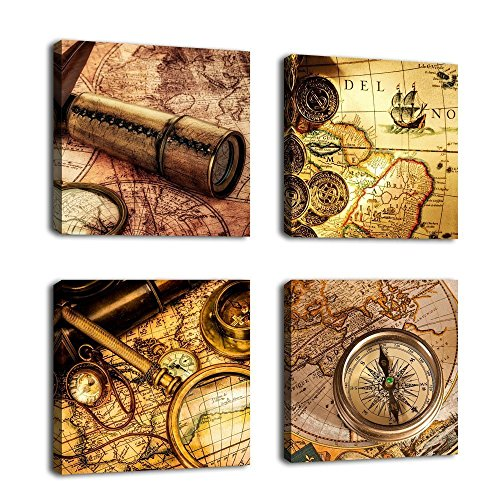 Canvas Painting Wall Art Navigation Tool Kits Framed Ready to Hang - 4 Pieces Nautical Sailing Canvas Art Prints for Home Decoration