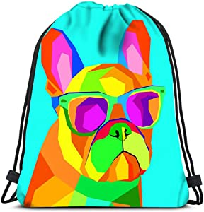 Drawstring Backpack French Bulldog Print On Clothes Cute Puppy Hand Made Laundry Bag Gym Yoga Bag
