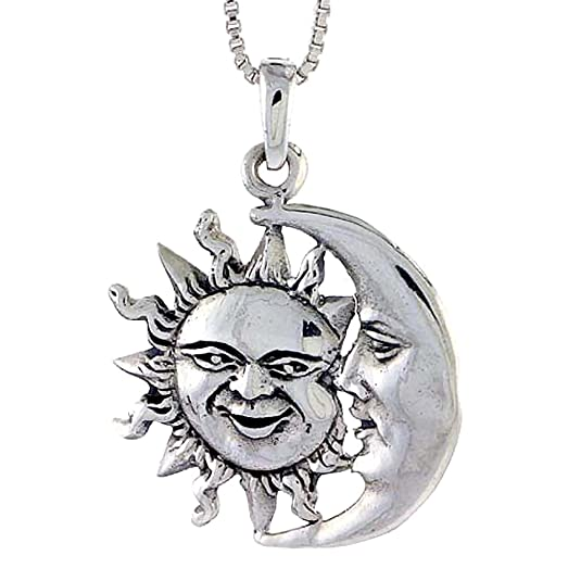 Amazon sterling silver sun and moon pendant 1 18 inch tall sterling silver sun and moon pendant 1 18 inch tall mozeypictures Images