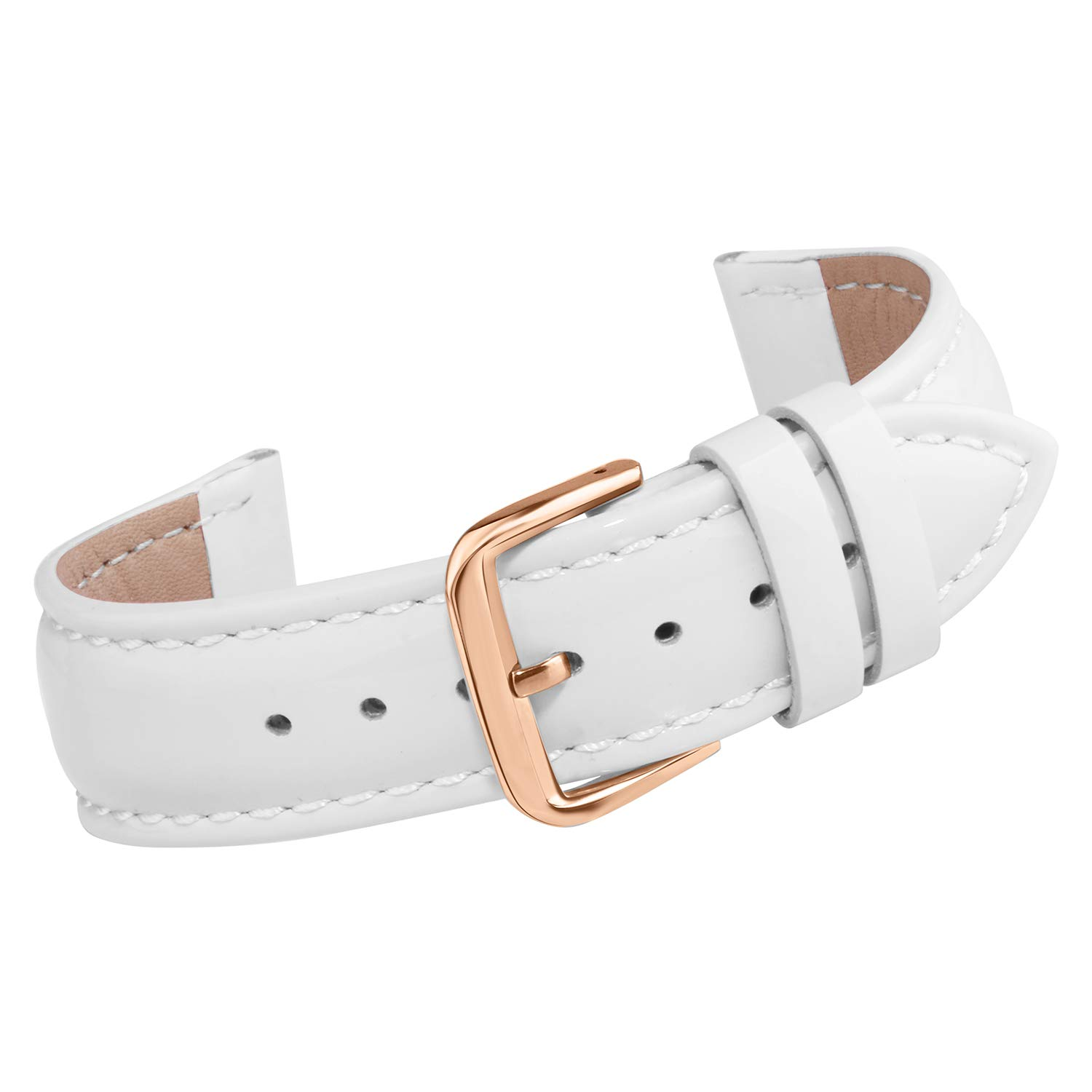Watch Leather Strap 16mm Leather Watch Band with Rose Gold Buckle by AUTULET