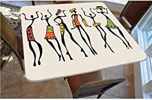 Afro Decor Polyester Fitted Tablecloth,African Group Clan Dancers Ethnic Characters in Sketchy Festival Hand Drawn Artwork Square Elastic Edge Fitted Table Cover,Fits Square Tables 48x48 Multi