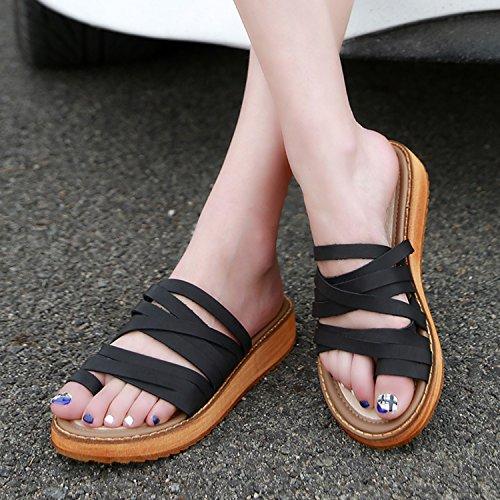 Frestepvie Mules Compensée Mode Femme Tongs Eté Sandales Confortable Chaussure de Plage Vintage Vacances Sabots Noir pAaJLj4i