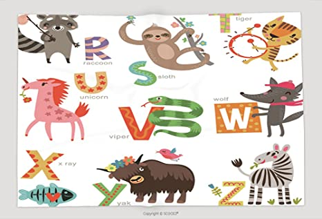 Supersoft manta de forro polar zoológico alfabeto para niños ...