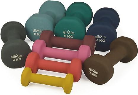diMio Mancuernas de neopreno 0,5-6 kg en pack doble, agarre suave, para fitness, entrenamiento de resistencia y musculatura, 2x 0,5 kg Gelb, 2x 0,5 kg Gelb: Amazon.es: Deportes y aire libre