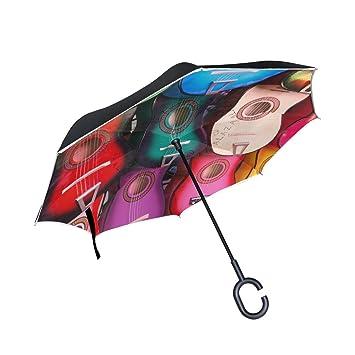BENNIGIRY - Paraguas Reversible Plegable de Doble Capa para Guitarra Musical Infantil, protección contra el