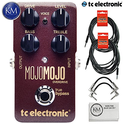 TC Electronic MojoMojo Overdrive - Tube Amp Overdrive Effect Foot Pedal + (2) 20ft Guitar Cables + (2) Patch Cables + Micro Fiber Cloth Bundle by TC Electronic