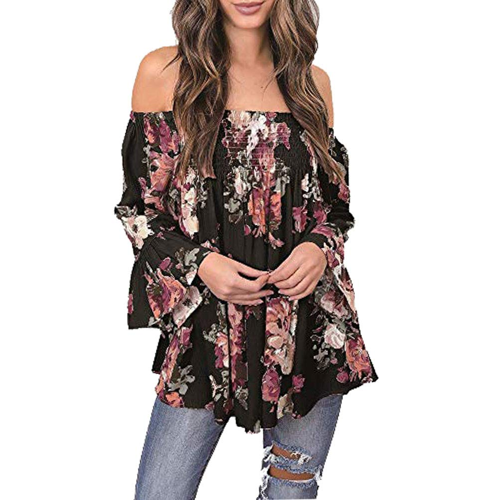 Amazon Women Blouse 2018 Summer Off Shoulder Floral Printed