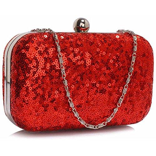 Bolso de mano para mujer, diseño de lentejuelas, para fiesta de graduación, boda, fiesta de tarde Red Clutch