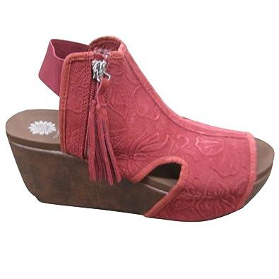 Amazoncom Yellow Box Womens Sheridan Burgundy Wedge Sandals