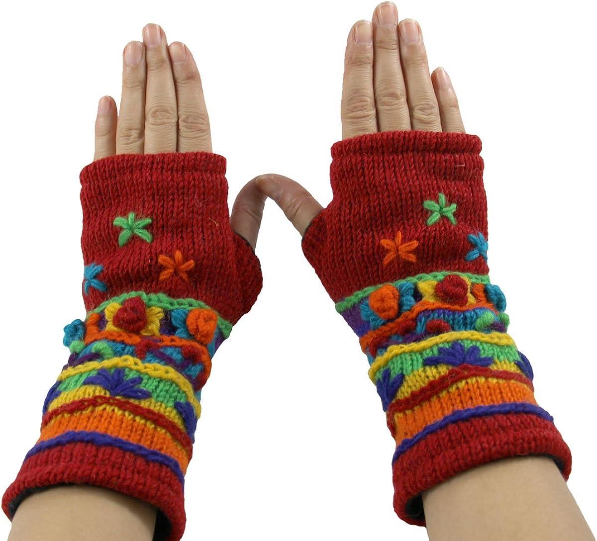 Hand Knit 100/% Wool Fleece Lined Hand Warmer//Glove