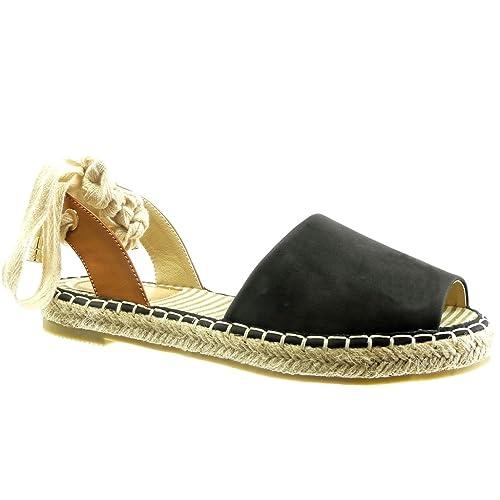 Angkorly - Zapatillas Moda Alpargatas Sandalias Abierto Mujer Cuerda Nodo Encaje Talón Tacón Ancho 2 CM: Amazon.es: Zapatos y complementos