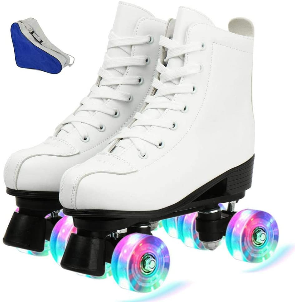 jessie Womens Roller Skates Light Up Wheels PU Leather Adjustable Double Row 4 Wheels Roller Skates Shiny Skates for Teens Youth Adult with Shoes Bag