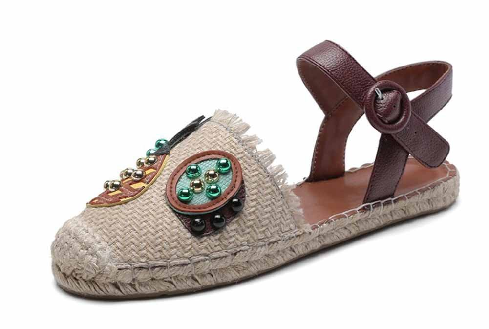 Beige SHINIK Femmes Closed Toe Sandals 2018 Ananas Chat Casual Chaussures Slingback Chaussures Plates Harajuku Straw Fisherhomme Chaussures 34 EU