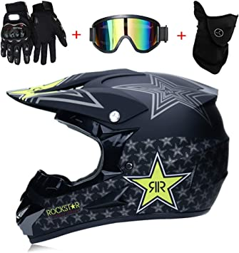 LTongx Motos Motocross Cascos y Guantes y Gafas estándar para ...