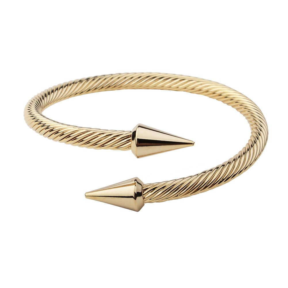 Monobijoux Bold Arrow in Gold plated Cone Cable Bangle Cuff Bracelet