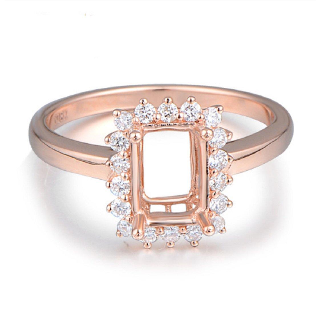 GOWE 5x7mm Emerald Cut 18k Rose Gold Diamond Semi Mount Ring Fine Jewelry by GOWE