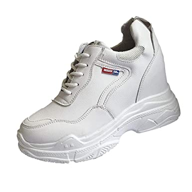92e6ef20b31 DODUMI Baskets Interieur Femme Les Baskets augmentent chez Les Femmes Mode  Femme Augmenter Chaussures DéContractées Porter