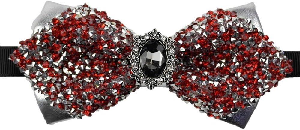 Diamant Plein Rouge Et Argent LILILICX Noeud Papillon Noeud Papillon en Strass Gypsophila